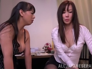 Kinky Asian lesbian with great juggs getting her hairy pussy licked