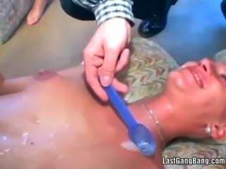gangbang sex for a slutty blonde on cameras
