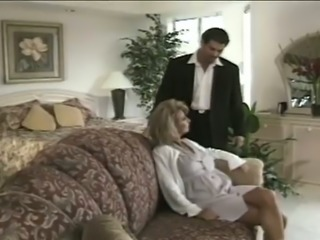 Emotional luxurious blond haired MILF gets pussy tickled before BJ