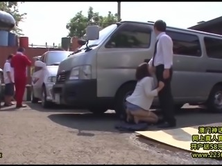 Japanese brunette attacked by a guy on a parking lot