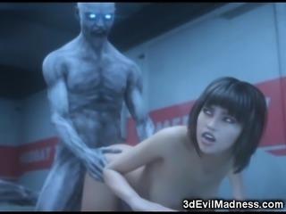 3D Zombie Fucks Helpless Sexy Scientist!