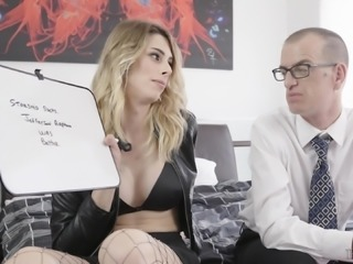 Casey Kisses is a shemale in fishnets craving to fuck a nasty fellow