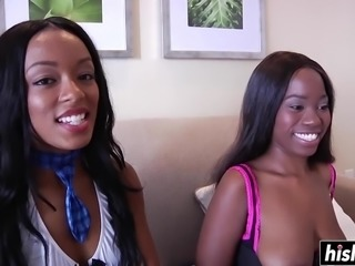 Two ebony babes get a big black cock shoved deep into their anal canals.