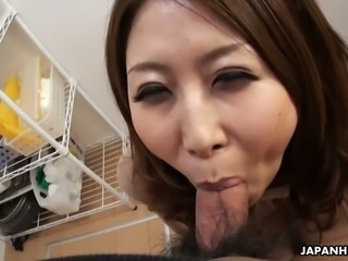 Lusty housewife from Japan Sachi Suzuki is so into sucking lollicock