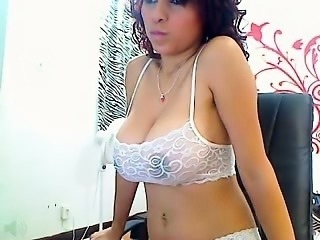Busty brunette with perky nipples fucks inside big house
