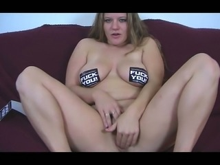 Light haired sweet looking a bit plump hottie  has a dildo to pet herself