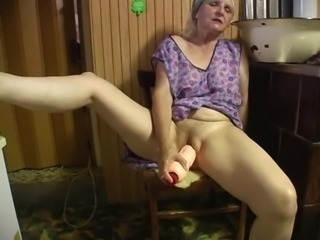 Dirty granny with a hairy pussy enjoying a hardcore vibrator fuck