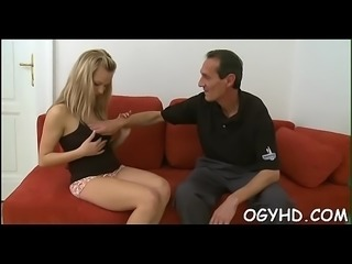 Young babe sucks and rides old pecker