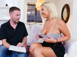 Busty stunning nympho Sunny Chase wanna suck delicious cock of dull man