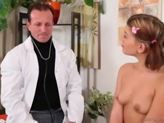 Lewd doctor treats pigtailed patient Rihanna Samuels with hot analfuck