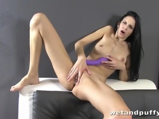 Mia fucks her pussy with a candle and a dildo in terrific solo clip