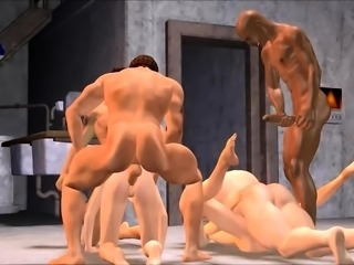 Insatiable 3D lovers get together for some intense group sex