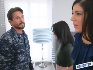 Bearded cop searches Athena Rayne and makes her suck his dick
