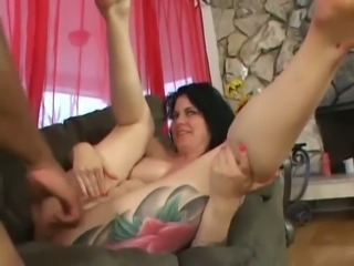 Wondrous busty Michelle Aston makes dude suck her huge boobies during...