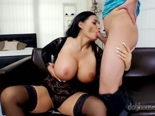 Lovely giant breasted MILF Sandra Sturm keeps on sucking tasty dick
