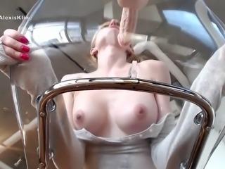 camgirl riding dildo on transparent chair