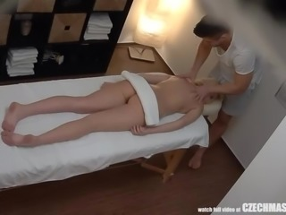 Hot Blonde GF Cheating on Massage