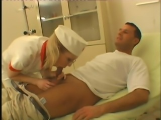 Hot Blonde Nurse In Glasses Checking Patient Big Cock