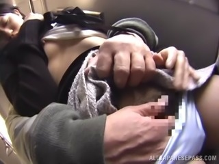On a public buss her panties come down and she gets fucked from behind