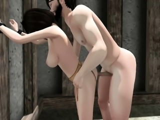 Blindfolded girl with big boobs gets banged doggystyle in 3D