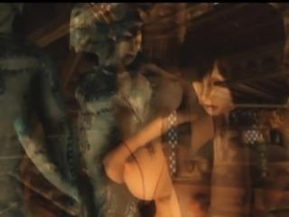 3D Busty Girl Pulverized by Alien!