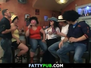 Funny BBW party with plump chicks