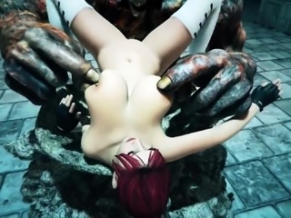 Big breasted 3D redhead has a hung monster plowing her pussy