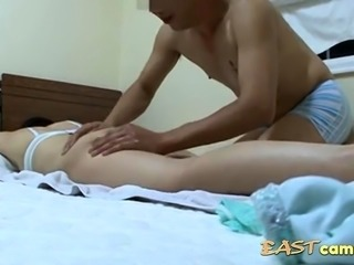 Hubby filmed asian erotic massage of the wife