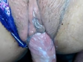 Creamy Hairy Pussy Panty Slut Wife Rubs Cumshot Into Her Pur