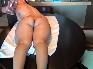 Busty Asian milf with a perfect ass gets massaged and fucked