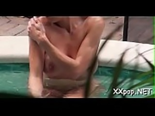 Cutie gets on top for a wild voyer wang riding action