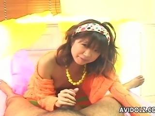 Cute Japanese teen sucks a cock in hot POV video