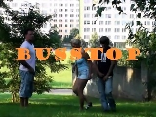Slutty blonde teen gets used by two boys in a public place