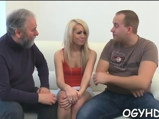 Pretty young lady gets licked by avid old fucker
