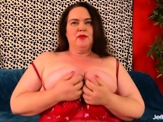 Sexy BBW shows her juicy tits fat ass and plump pussy She