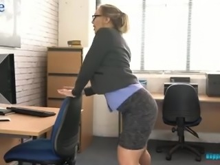 All alone office slut Beth undresses and plays with her awesome boobies