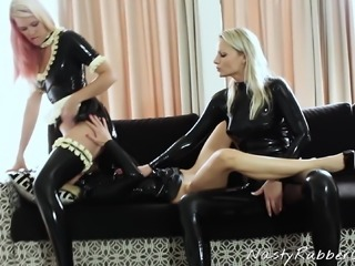 Latex Lesbian Threesome, Fingering, Face Sitting
