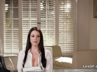 Sexy research assistant rimmed by big tit boss