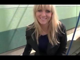 German Blonde Swallows Cum after Car Washing