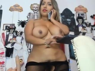 Curvy Latina with big tits POV hairy bush