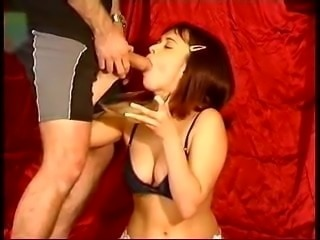 Britany drinks a huge glass of cum