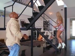 Lewd huge breasted blonde MILF Nina Elle lures bald delivery man for sex