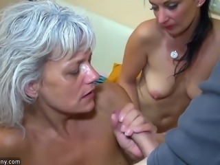 OldNanny Group Sex - threesome young girl with mature group sex