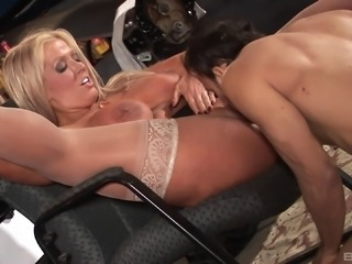 A blonde babe with giant tits gets drilled then takes a load on her rack