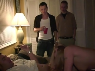 Risque cowgirl getting drunk at a party then gets licked as she gives a...