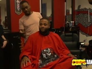 Horny milf cops barge inside barbershop