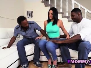 Dirty slutty milf enjoys interracial threesome