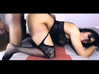 Striking milf in lingerie takes a big black cock from behind