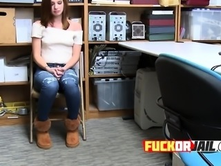 Hardcore sex in the office with MILF redhead thief
