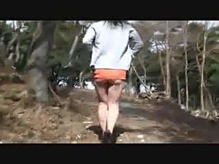 Nice little bitch walks in the woods with an apple up the ass